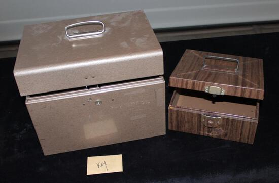 Lot of 1 steel lockable file box and 1 steel card file box