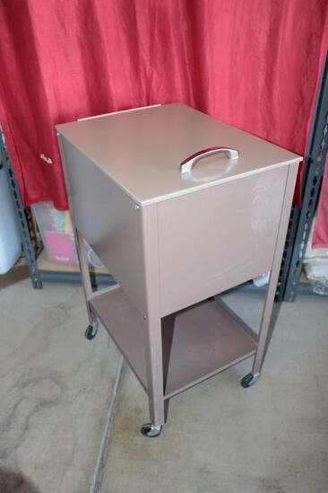 Hanging file cabinet on casters