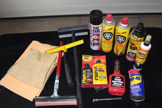 Lot of miscilanneous auto products, tire fix a flat, rain x, squeeges, WD 40, tire gage