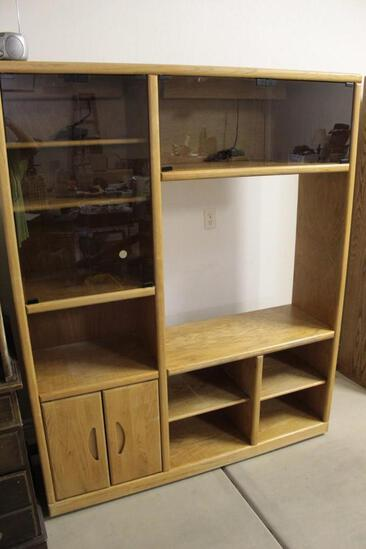 Oak Entertainment Center with glass frontage cabinets