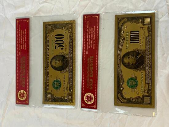 Lot of 2 24K GOLD Plated Foil Novelty Notes and $500 and $1000 Bill Gold Banknotes
