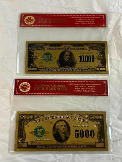 Lot of 2 24K GOLD Plated Foil Novelty Notes and $5000 and $1000 Bill Gold Banknotes