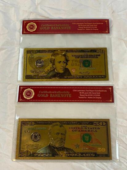 Lot of 2 24K GOLD Plated Foil Novelty Notes $20 and $50 Bill Gold Banknotes