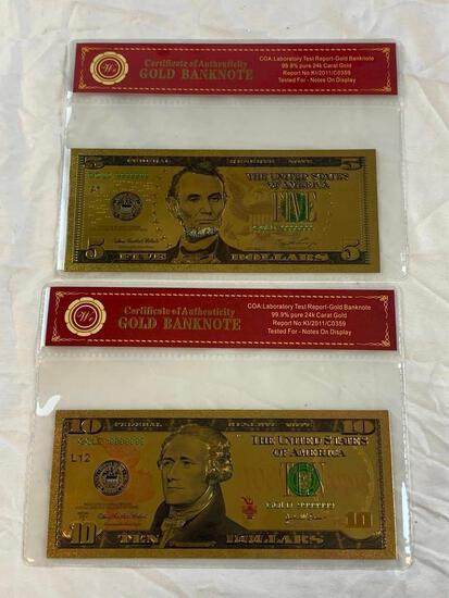 Lot of 2 24K GOLD Plated Foil Novelty Notes $5 and $10 Bill Gold Banknotes