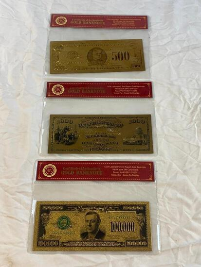 Lot of 3 24K GOLD Plated Foil Novelty Notes and $500, $100 and $100,00 Gold Banknote