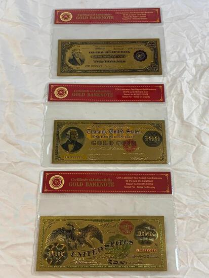 Lot of 3 24K GOLD Plated Foil Novelty Notes and $2 $100 Bill Gold Banknote