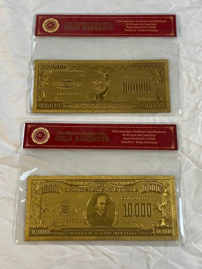 Lot of 2 24K GOLD Plated Foil Novelty Notes and $10,000 and $100,000 Bill Gold Banknotes