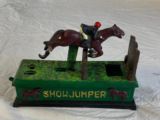Reproduction SHOWJUMPER Cast Iron Mechanical Bank Horse and Jockey