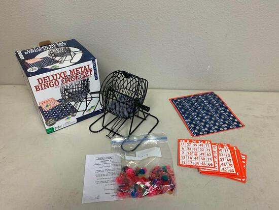 Deluxe Wire Metal Cage BINGO SET Game Kit Cards Balls with box