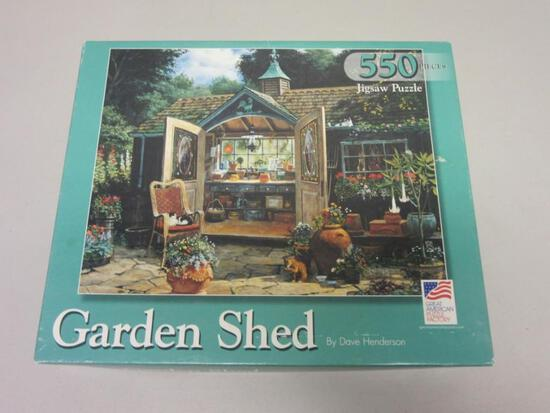 """GARDEN SHED by Dave Henderson 550 Piece Jigsaw Puzzle 18""""x24"""""""