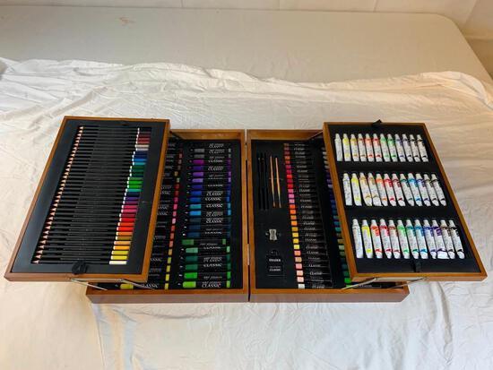 Professional Sketch Drawing Art Set Painting Studio Artist Kit NEW in Wood Storage Case
