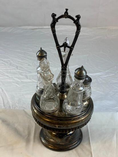 Antique Silver Plated Castor Etched Cruet 5 Bottles Condiment Set