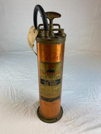 Vintage The Captain Fyr-Fyter Brass 1 gallon Fire Extinguisher