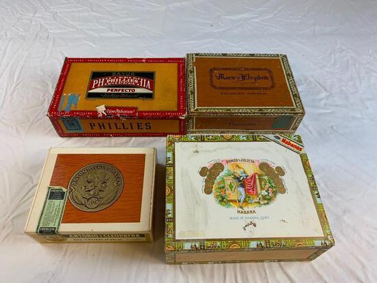 Lot of 4 Vintage Cigar Boxes