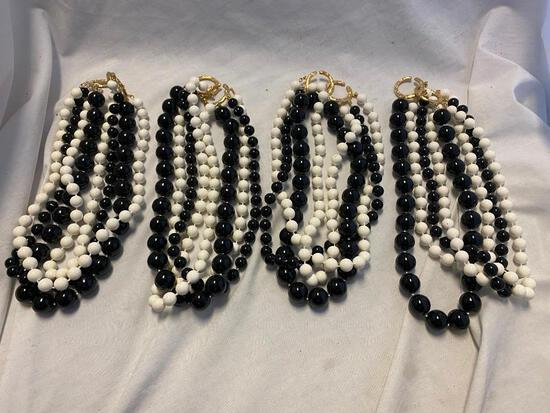 Lot of 4 Identical Black and White Beaded Necklaces