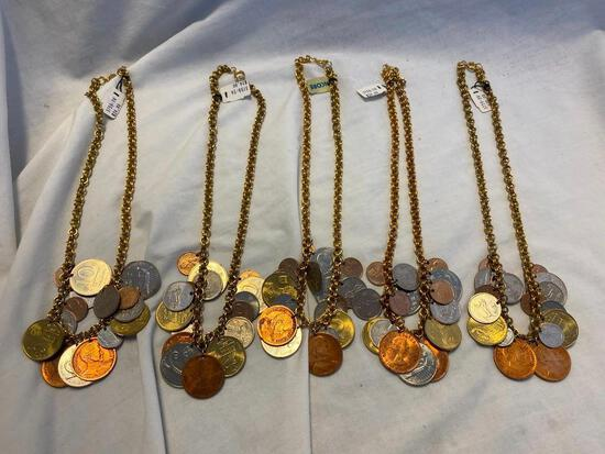 Lot of 5 Identical Coin Necklaces