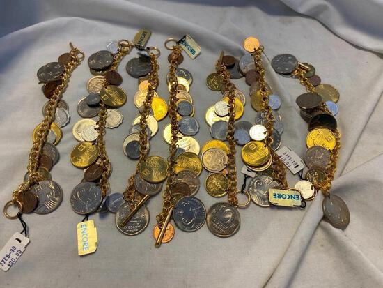 Lot of 7 Identical Gold-Tone Coin Bracelets