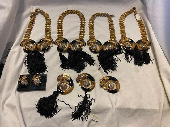 8 Piece Identical Style Jewelry Set of Necklaces, Earrings, and Brooches