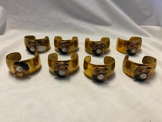 Lot of 8 Identical Gold-Tone Cuff Bracelets