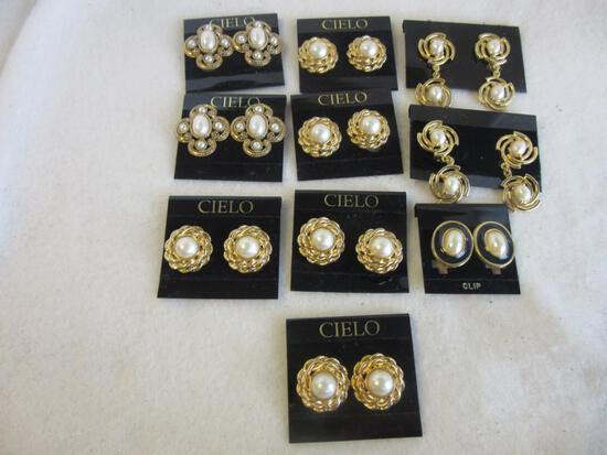 Lot of 10 Misc. Pairs of Gold-Toned and Faux-Pearl Costume Earrings