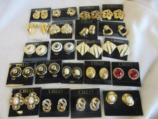 Lot of 21 Pairs of Gold-Toned Clip-On and Pierced Costume Earrings
