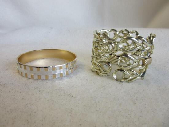 Lot of 2 Misc. Gold-Toned Costume Bracelets