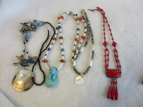 Lot of 4 Misc. Beaded Costume Necklaces with Pendants and Center Embellishments