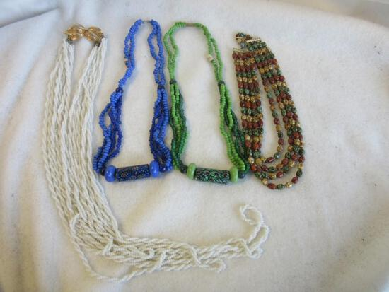 Lot of 4 Misc. Beaded Costume Necklaces