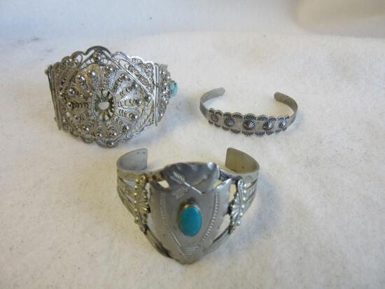 Lot f 3 Silver-Toned Bangle/Cuff Bracelets w/ Center Designs and Semi-Precious Stone