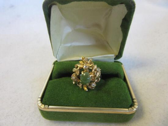 Gold-Toned Ring with Center Jade Stone