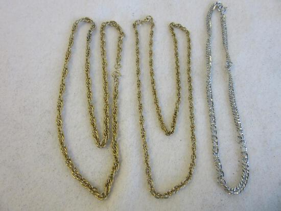 Lot of 3 Misc. Gold-Toned and Silver-Toned Simple Chain Necklaces