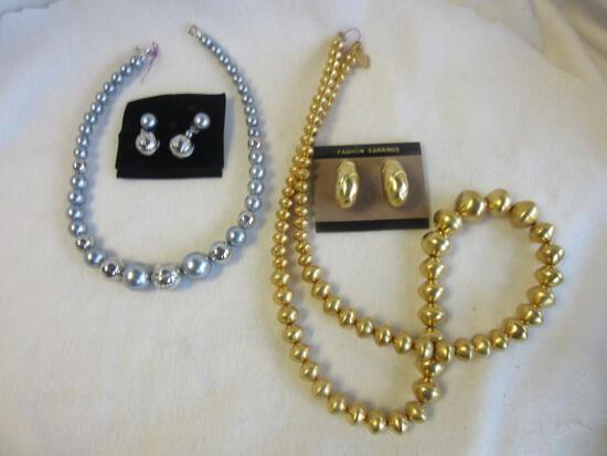 Lot of 2 Misc. Silver-Toned and Gold-Toned Necklace and Earring Sets