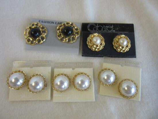 Lot of 5 Misc. Pairs of Silver-Toned and Faux-Pearl Clip-On Earrings