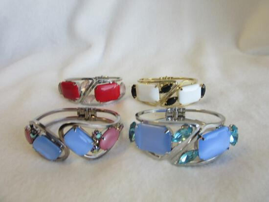 Lot of 4 Similar Silver-Toned and Gold-Toned Bracelets with Colorful Faux-Gem Embellishments