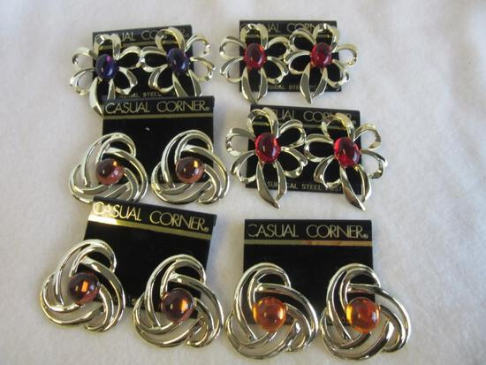 Lot of 6 Similar Gold-Toned Pairs of Pierced Earrings with Colorful Faux Center Gems