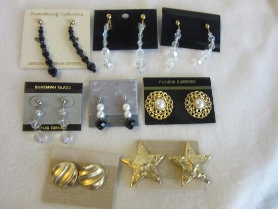 Lot of 8 Misc. Pairs of Pierced Costume Earrings