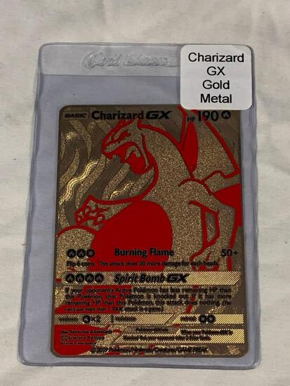 POKEMON Charizard GX Limited Edition Gold Metal Card