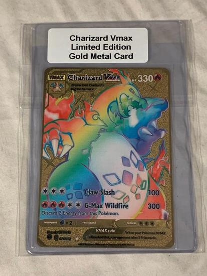 POKEMON Charizard Vmax Limited Edition Gold Metal Card