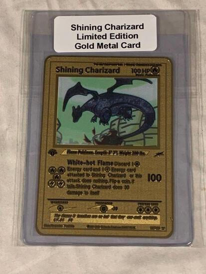 POKEMON Shining Charizard Limited Edition Gold Metal Card