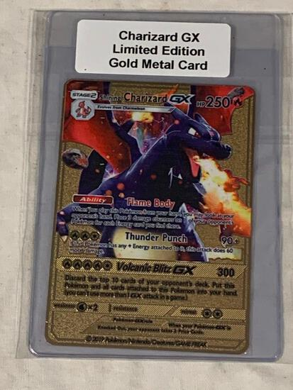 Pokemon CHARIZARD GX Flame Body Limited Edition Gold Metal Card