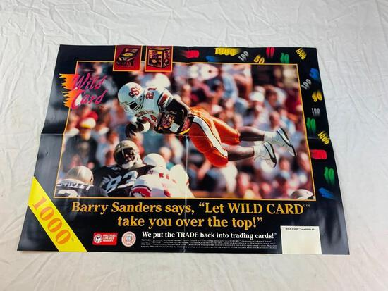 "BARRY SANDERS Wild Card 1000 Stripe Oklahoma St Football Promo Poster 17"" x 23"""