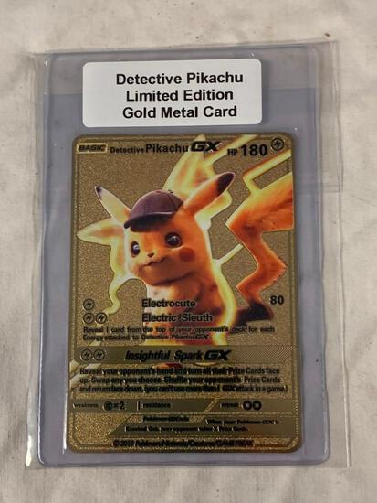 Pokemon DETECTIVE PIKACHU Limited Edition Gold Metal Card
