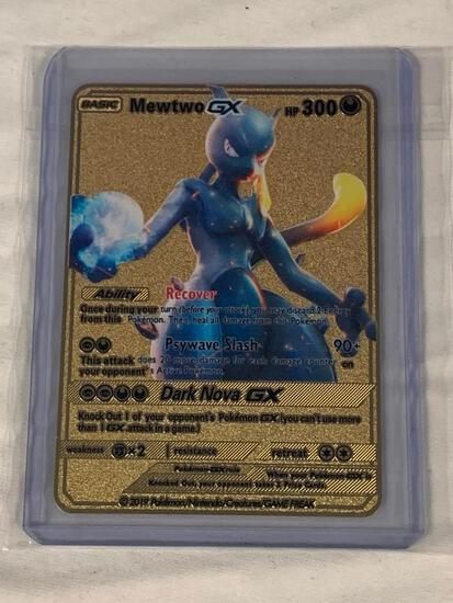 POKEMON Dark Nova GX Mewtwo Limited Edition Gold Metal Card