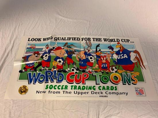 """1994 Upper Deck World Cup Toons Soccer Promo Poster 18"""" x 34"""""""