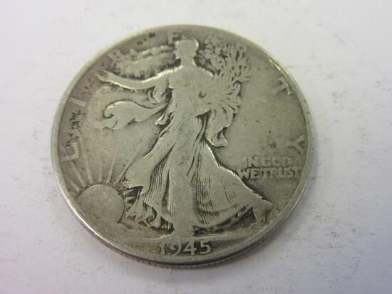 1945 .90 Silver Walking Liberty Half Dollar