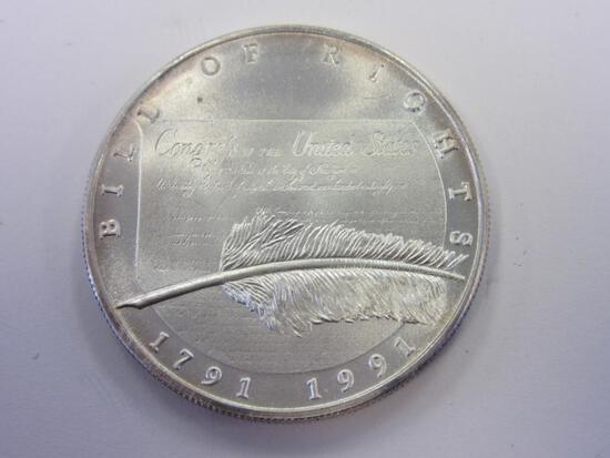 .999 Silver 1oz 1991 Bill of Rights Bullion