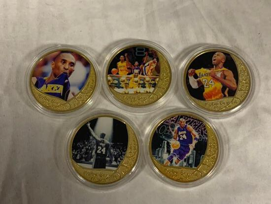 Set of 5 KOBE BRYANT Lakers Basketball Limited Edition Tokens Coins