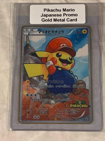 POKEMON Pikachu Mario Japanese Promo Limited Edition Gold Metal Card