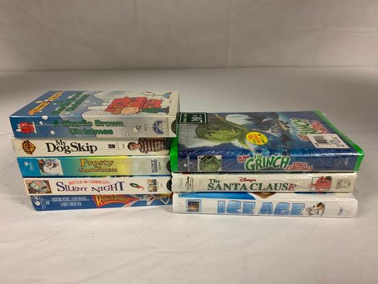 Lot of 8 Children Family VHS Movies NEW The Grinch, Roger Rabbit, Charlie Brown, Ice Age and others