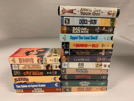 Lot of 18 Western VHS Movies with 12 NEW and SEALED , many Are John Wayne Movies